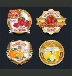 Set of organic fruit golden labels vector