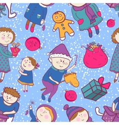 Childish christmas seamless pattern vector