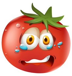 Crying face on tomato vector