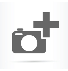 Camera plus sign icon vector