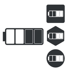 Half battery icon set monochrome vector
