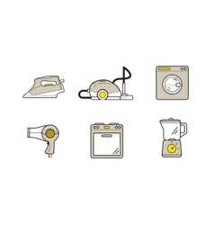 Line icons of home appliances household devices vector