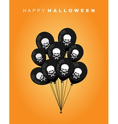 Happy halloween black balloon with skull and bones vector