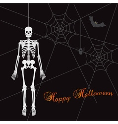 Scary happy halloween with white skeleton eps10 vector