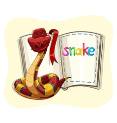 Red snake and a book vector