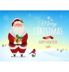 Christmas greeting card poster funny santa vector