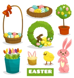 Easter cartoon isolated object icon set on white vector