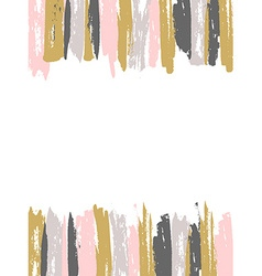 Painted pink and gold striped background template vector