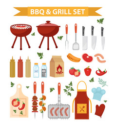 Barbecue and grill icons set flat or cartoon vector