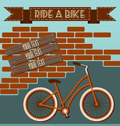 Bicycle silhouette Graffiti on Brick Wall vector image vector image