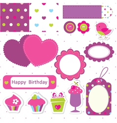 Birthday scrapbook set vector image vector image