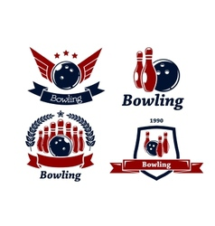Bowling themed emblems and icons vector