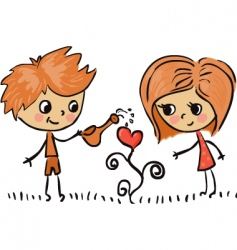 boy and girl in love vector image