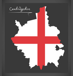 Cambridgeshire map england uk with english vector