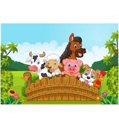 Collection farm animals in the forest vector