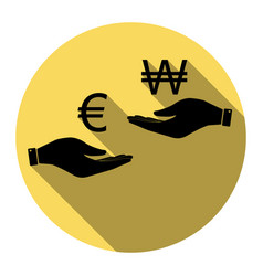 Currency exchange from hand to hand euro and won vector