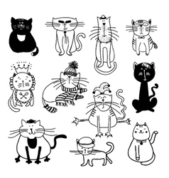 Cute cats sketch vector image vector image