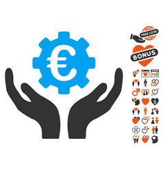 Euro maintenance hands icon with valentine bonus vector
