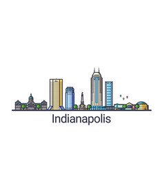 Flat line indianapolis banner vector