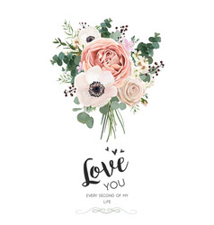 floral card design rose peach pink flower white vector image vector image
