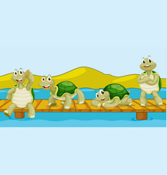 Four turtles on wooden bridge vector