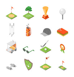 golf game equipment and signs icons set isometric vector image vector image