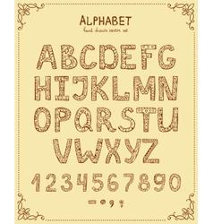 Hand Drawn Retro Font vector image
