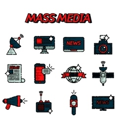 Mass media flat icons set vector image