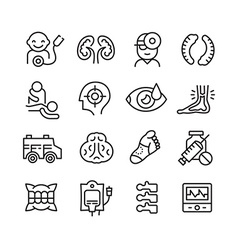 Medical icons related to different branches of vector