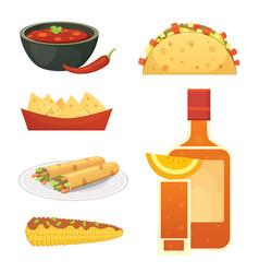 Mexican cuisine cartoon dishes set vector