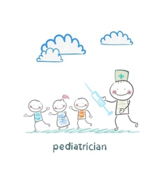 pediatrician with a syringe runs for children vector image vector image
