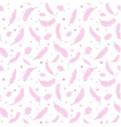 seamless pattern with pink feathers vector image vector image