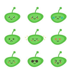 Set collection of cute green little aliens vector image vector image