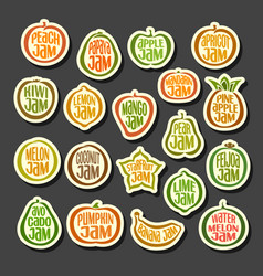 Set colorful fruits jam icons vector