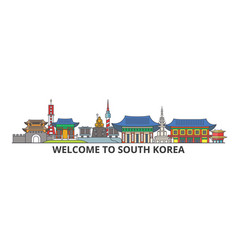 south korea outline skyline korean flat thin line vector image