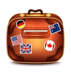 Suitcase With Stamps vector image vector image