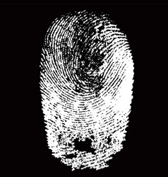 white fingerprint shape on black background vector image