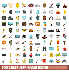 100 computer game icons set flat style vector