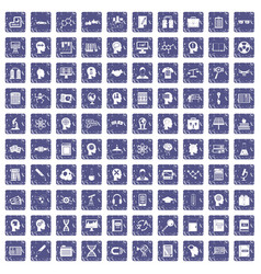 100 knowledge icons set grunge sapphire vector
