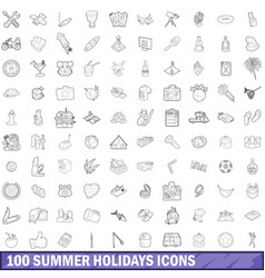 100 summer holidays icons set outline style vector image