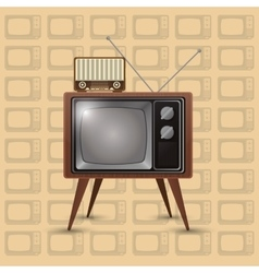 retro tv emblem image vector image