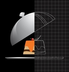 Gourmet food on a silver plate and serving dome vector