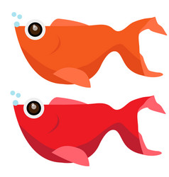 catoon fish colour orange and red vector image