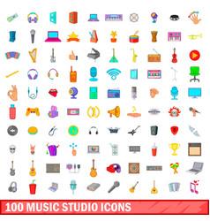 100 music studio icons set cartoon style vector