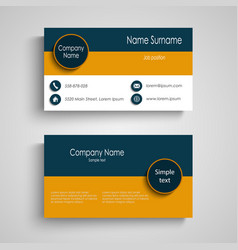 Business card with blue orange stripes template vector
