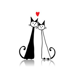 Couple of cat sketch for your design vector