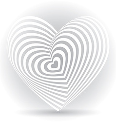 White heart on a white background optical of 3d vector