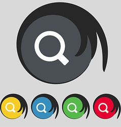 Magnifier glass icon sign symbol on five colored vector