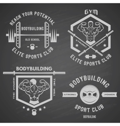 Bodybuilding white label set vector