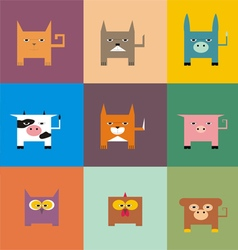 Square animals vector